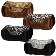 Animal Print Square Bed with Piping