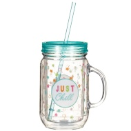 Double Walled Drinking Jar with Straw