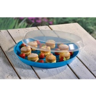 Food Tray with Clear Lid - Blue