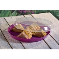 Food Tray with Clear Lid - Purple
