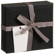 Leatherette Coasters 6pk - Black