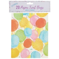 Paper Treat Bags 20pk - Balloons