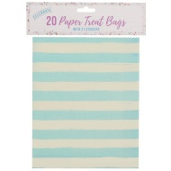 Paper Treat Bags 20pk - Blue Stripes
