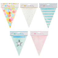 Paper Bunting 6m - Blue Stripes