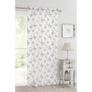 Butterfly Flock Voile Curtain 140 x 222cm - Grey
