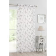 Butterfly Flock Voile Curtain 140 x 222cm - Mink