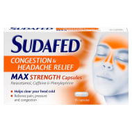Sudafed Congestion & Headache Max Strength Capsules 16pk