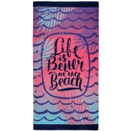 Printed Beach Towel 75 x 150cm - Life is Better at the Beach