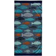 Printed Beach Towel 75 x 150cm - Fish