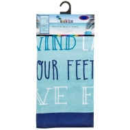 Printed Beach Towel 75 x 150cm - Aqua Slogan