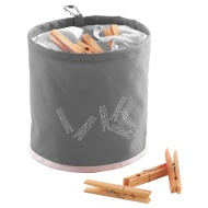 Peg Bag with 10 Wooden Pegs - Grey