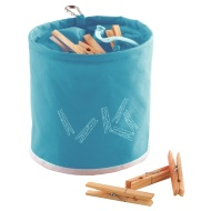 Peg Bag with 10 Wooden Pegs - Blue