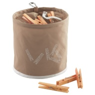 Peg Bag with 10 Wooden Pegs - Natural