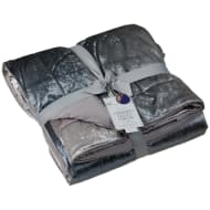 Ombre Crushed Velvet Throw - Charcoal