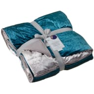 Ombre Crushed Velvet Throw - Teal