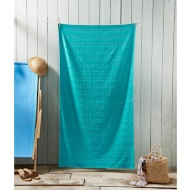 Oversized Jacquard Beach Towel 100 x 180cm - Aqua Chevron