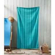 Oversized Jacquard Beach Towel 100 x 180cm - Aqua Stripe