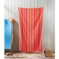 Oversized Jacquard Beach Towel 100 x 180cm - Orange Stripe