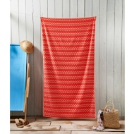Oversized Jacquard Beach Towel 100 x 180cm - Orange Chevron