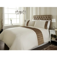 Sara Metallic Pleat Panel Double Duvet Set