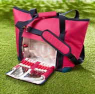 Picnic Bag with Dinnerware 27pc - Pink