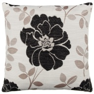 Natalia Chenille Flower Cushion - Black
