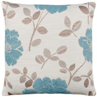 Natalia Chenille Flower Cushion - Teal