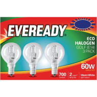 Eveready 60W E14 Golf Bulb 3pk