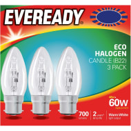 Eveready 60W B22 Candle Bulb 3pk
