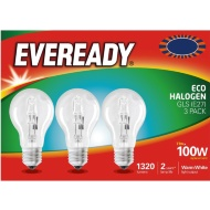 Eveready 100W E27 Eco Halogen Bulb 3pk