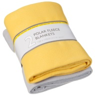 Polar Fleece Throw 2pk - Yellow & Grey