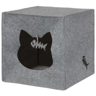 Felt Cat Cube Den - Grey