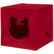 Felt Cat Cube Den - Red