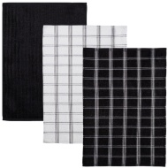 Oversized Check Terry Tea Towels 3pk - Black