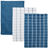 Oversized Check Terry Tea Towels 3pk - Blue