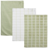 Oversized Check Terry Tea Towels 3pk - Green