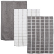 Oversized Check Terry Tea Towels 3pk - Grey