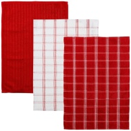 Oversized Check Terry Tea Towels 3pk - Red
