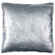 Sienna Oversized Sequin Cushion - Silver