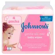 Johnson's Gentle All Over Baby Wipes 4 x 56pk