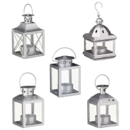 Home Decor Mini Lanterns 5pk - Silver