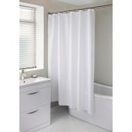 Diamante Shower Curtain with Hooks - White