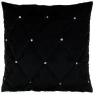 Frances Oversized Diamante Quilted Cushion - Black