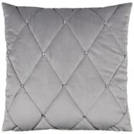 Frances Oversized Diamante Quilted Cushion - Silver