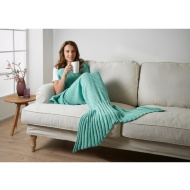 Knitted Mermaid Tail Blanket - Aqua
