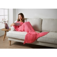 Knitted Mermaid Tail Blanket - Coral