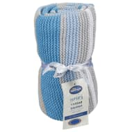 Silentnight Striped Knitted Blanket - Blue