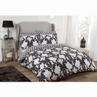 Damask Double Duvet Set Twin Pack - Mono