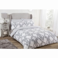 Damask King Duvet Set Twin Pack - Grey