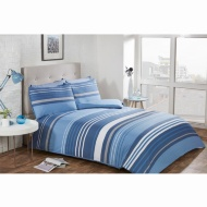 Striped Double Duvet Twin Pack - Blue